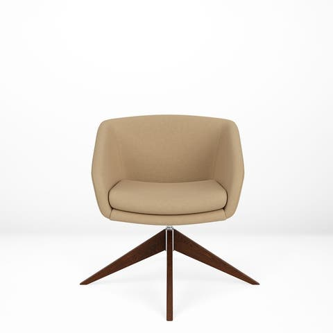 Via Seating Edge Geniune Leather Swivel Chair with Wood Base, Contract Grade Seating