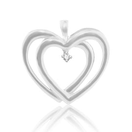 1/10ct Diamond Heart Pendant 29mm Tall Sterling Silver(i2/i3, i/j) By MidwestJewellery - White
