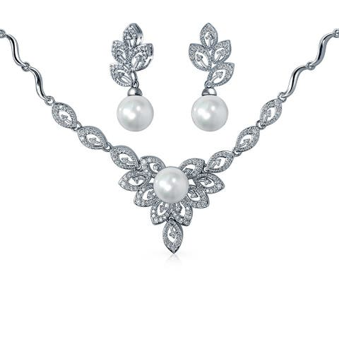Bling Jewelry Imitation Pearl CZ Necklace Earring Set Rhodium Plated