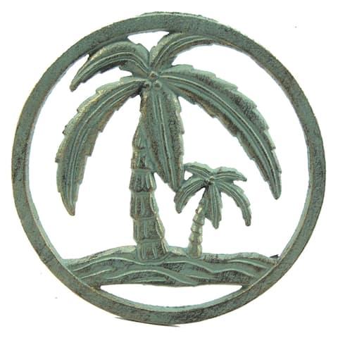 Palm Tree Kitchen Trivet Hot Plate Cast Iron Verdi Green