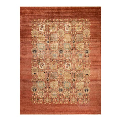 """Eclectic, One-of-a-Kind Hand-Knotted Area Rug - Pink, 8' 10"""" x 11' 8"""" - 8' 10"""" x 11' 8"""""""