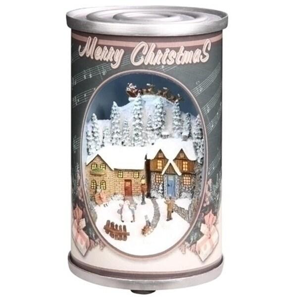 "7"" Retro Musical Santa Claus in Antique Can Christmas Decor"