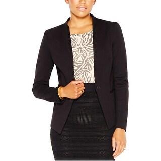 Rachel Roy Womens Collarless One Button Blazer Jacket, black, Medium