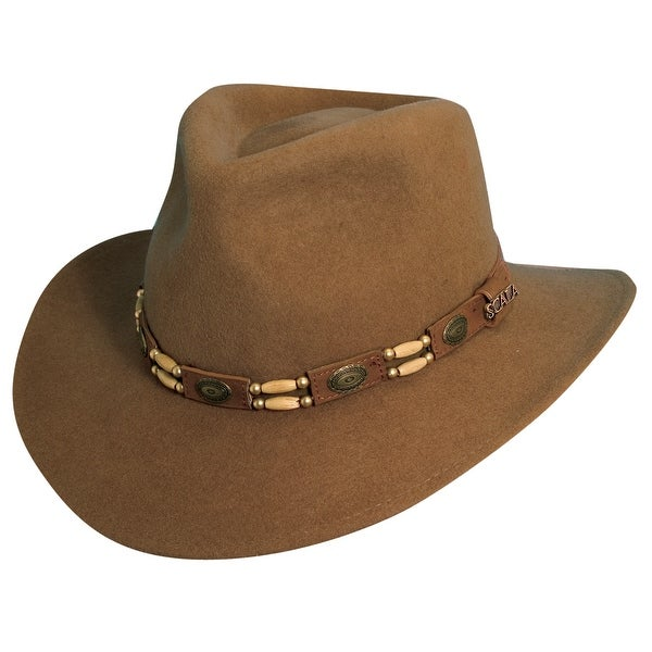 Shop Scala Western Style Men s Crushable Wool Felt Outback Hat with Conchos  and Beads - Free Shipping Today - Overstock - 18059775 619669713b30