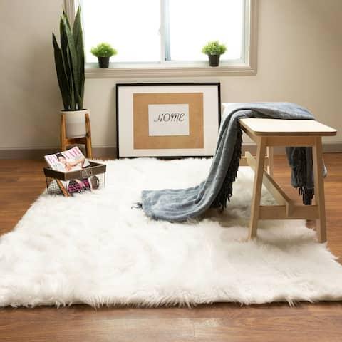 Faux Fur Shag Rug White - 2' x 3'