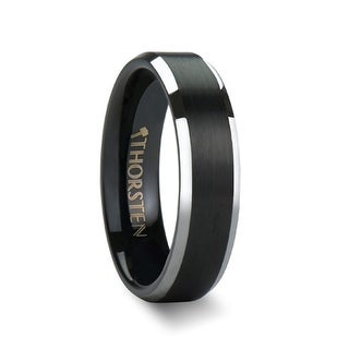 THORSTEN - ASTON Black Brushed Center Tungsten Wedding Ring with Polished Beveled Edges - 4mm