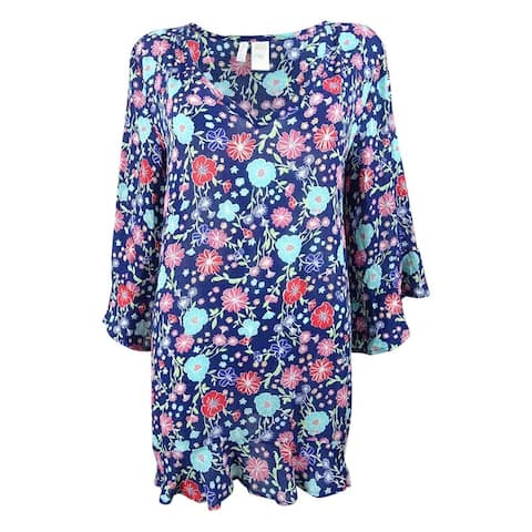 0eef0792c04 Anne Cole Women's Floral-Print Flutter-Sleeve Tunic Cover-Up - Navy Multi