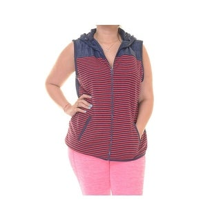 Tommy Hilfiger Sunday Hooded Striped Contrast Formula One Outerwear Vest - XL