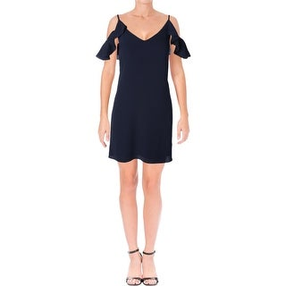 Aqua Womens Cocktail Dress Ruffled Cold Shoulder