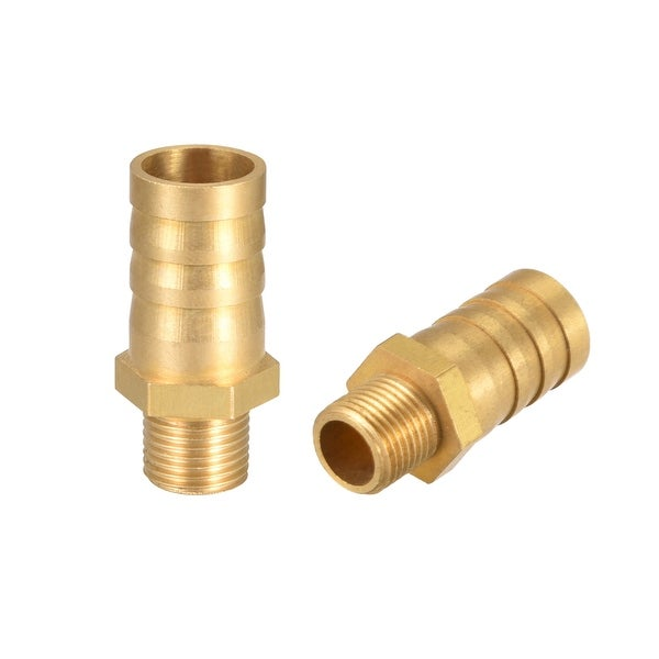 "Brass Barb Hose Fitting Connector Adapter 12 mm Barbed x 1/8"" G Male Pipe 2Pcs - 1/8"" G x 12mm"