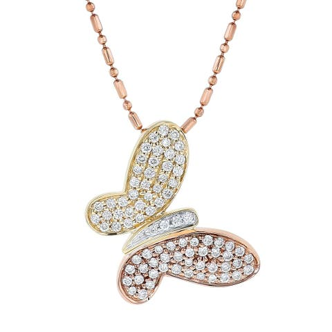 14K Two Tone Rose and Yellow Gold 0.4 ct. TDW Diamonds Butterfly Necklace by Beverly Hills Charm