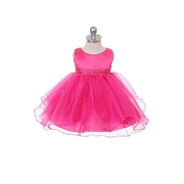 Chic Baby Fuchsia Organza Ruffle Special Occasion Dress Baby Girl