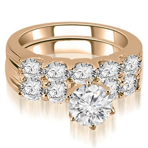 2.30 cttw. 14K Rose Gold Round Cut Diamond Bridal Set