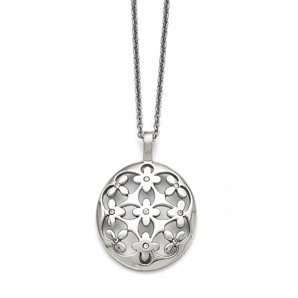 Chisel Stainless Steel Polished Circle with CZ with 2in ext. Necklace - 18.25 in