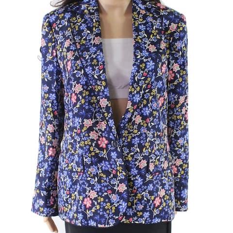 Lauren by Ralph Lauren Women Blue Size 12 Floral One-Button Blazer