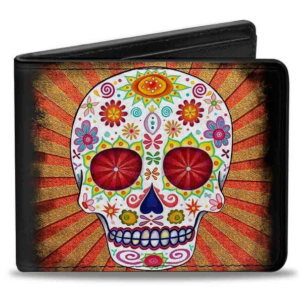 Sugar Skull Rays Black Multi Color Bi Fold Wallet - One Size Fits most