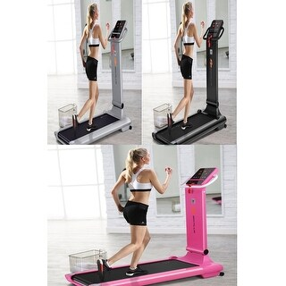 Goplus 1.5HP LED Compact Folding Treadmill Exercise Fitness Running Machine w/ USB MP3 3 Color.Sliver,Black,Pink