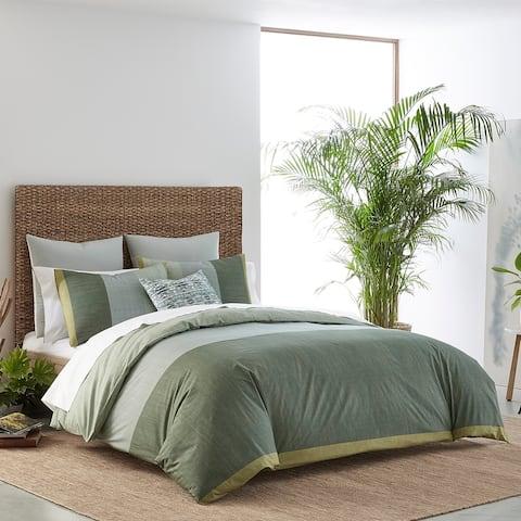 IZI Chambray Color Block Green Duvet Cover Set