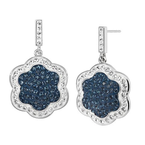Flower Drop Earrings with Blue & White Swarovski Crystals in Rhodium-Plated Bronze