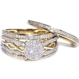 10K Gold Bridal Wedding Ring Set 1/2cttw Diamond 11.5mm Wide Woven Side(I/J Color 0.5cttw)