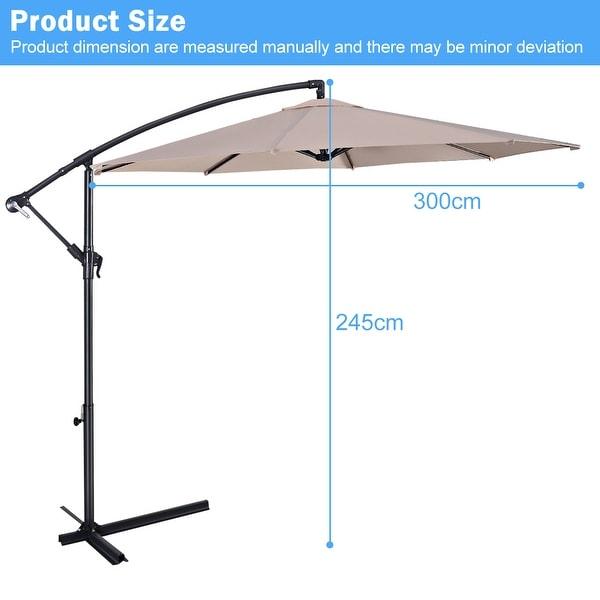 10/' Hanging Umbrella Patio Sun Shade Offset Outdoor Market with Cross Base US