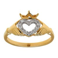 1/8 ct Diamond Claddagh Heart Ring in 14K Gold