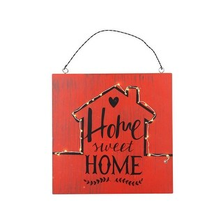 "8"" Battery Operated LED Lighted Home Sweet Home Wall Sign - Red"