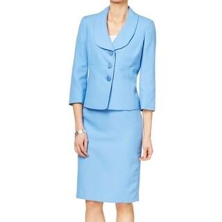 Le Suit NEW Blue Women's Size 16 Textured Seamed Skirt Suit Set