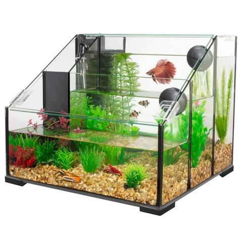 Penn-Plax Triad AquaTerrium Fish Tank - 3 Chambers - 3.25 Gallons
