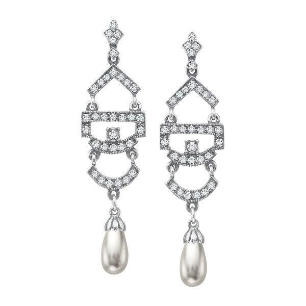 Van Kempen Victorian Simulated Pearl Drop Earrings with Swarovski Elements Crystals in Sterling Silver