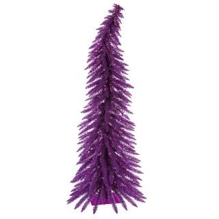 4' Pre-Lit Whimsical Purple Spruce Tinsel Christmas Tree - Purple Lights