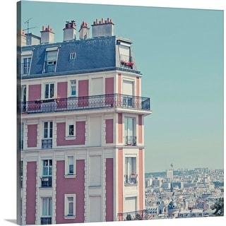 """Orange apartment building with view over Paris, Montmartre, Paris, France."" Canvas Wall Art"