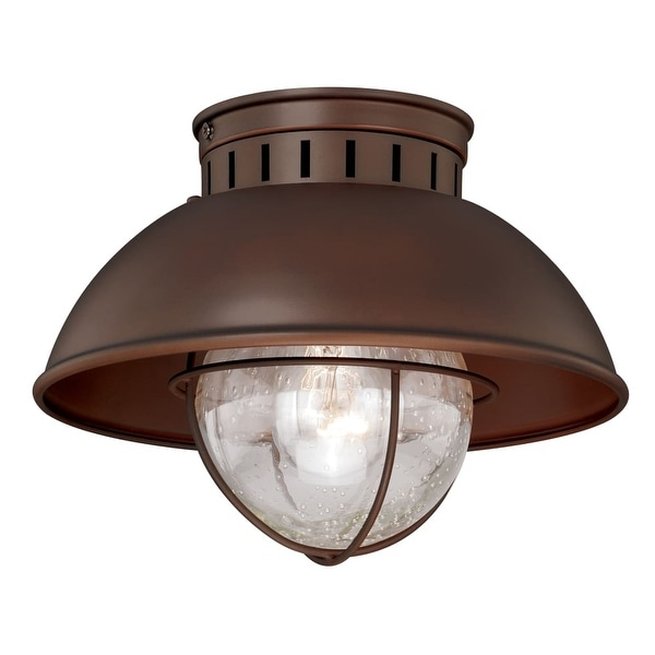"""Vaxcel Lighting T0143 Harwich 1-Light Flush Mount Outdoor Ceiling Fixture with Clear Seeded Glass and Metal Shade - 10"""" Wide"""
