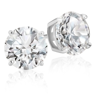 Lusoro 925 Sterling Silver Round Cut AAA Cubic Zirconia Stud Earrings