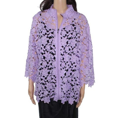 Erin London Womens Jacket Purple Size Small S Lace Floral Full-Zip