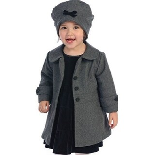 Angels Garment Toddler Little Girls Grey Coat Hat Outerwear Set 2T-8