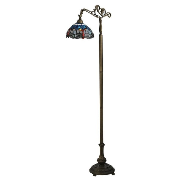 "Meyda Tiffany 119648 63"" H Tiffany Hanginghead Dragonfly Bridge Arm Floor Lamp - flame beige - n/a"