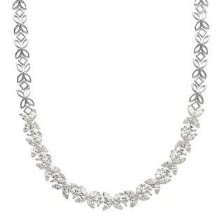 Starburst Garland Necklace with Swarovski Zirconia in Sterling Silver - White