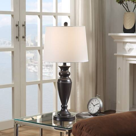 StyleCraft Black Nickel Urn Shape Table Lamp with White Drum Shade