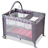 Babyjoy Folding Travel Baby Crib Playpen Infant Bassinet Bed Changing Table w/Baby Toys - Grey