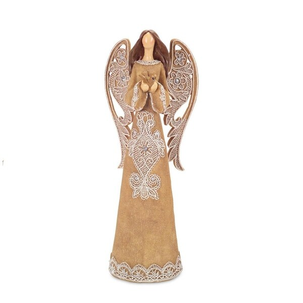 "16"" Burlap-Style Angel with Lace Detail Holding Dove Christmas Decoration"