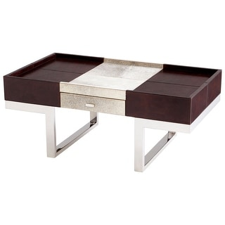 """Cyan Design 09754  Curtis 42-3/4"""" Long Leather and Wood Top Iron Coffee Table - Brown / Steel"""