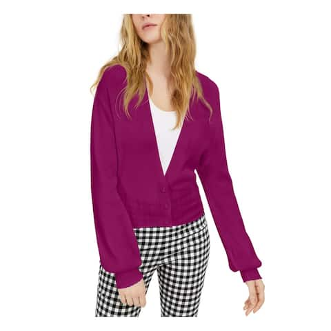 INC Womens Purple Ribbed Solid Long Sleeve Button Up Sweater Size M
