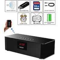 Boytone BT-87CR Bluetooth 4.1 Portable Alarm Clock Radio Wireless Speaker, Digital FM Tuning Built-in Rechargeable Battery, Mic,