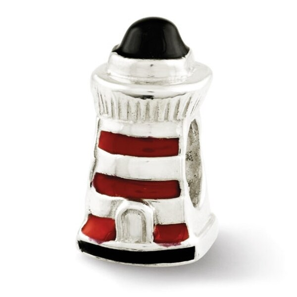 Sterling Silver Reflections Enameled Lighthouse Bead (4mm Diameter Hole)