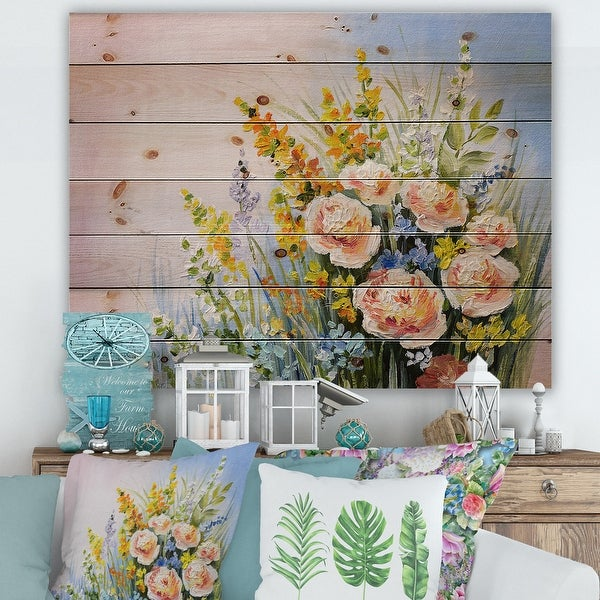Designart 'Pink and Yellow Summer Wildflowers' Traditional Print on Natural Pine Wood. Opens flyout.
