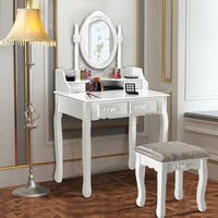 Costway Vanity Wood Makeup Dressing Table Stool Set Jewelry Desk W/4 Drawer&Mirror White