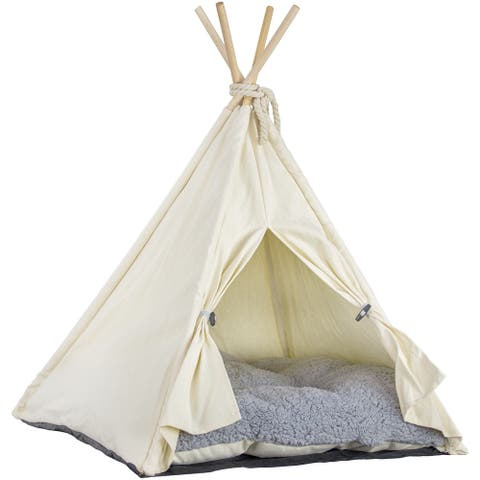 Pet Teepee Portable Dog & Cat Bed with Cushion - Beige