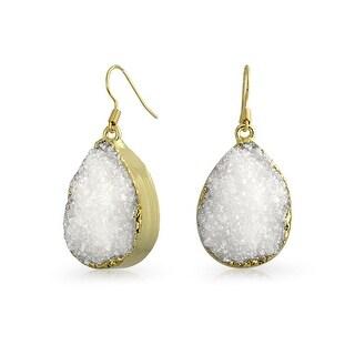Bling Jewelry Gold Plated Brass White Druzy Agate Teardrop Dangle Earrings