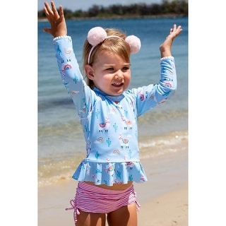 Sun Emporium Bahama Llama Long Sleeve Rash Guard Boyleg Set Baby Girls